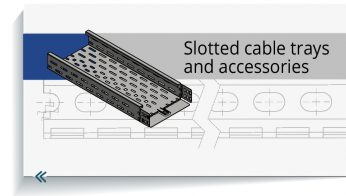 Slotted cable trays and accessories